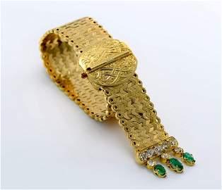 Estate Vintage 18K YG Diamond & Emerald Bracelet, C1940