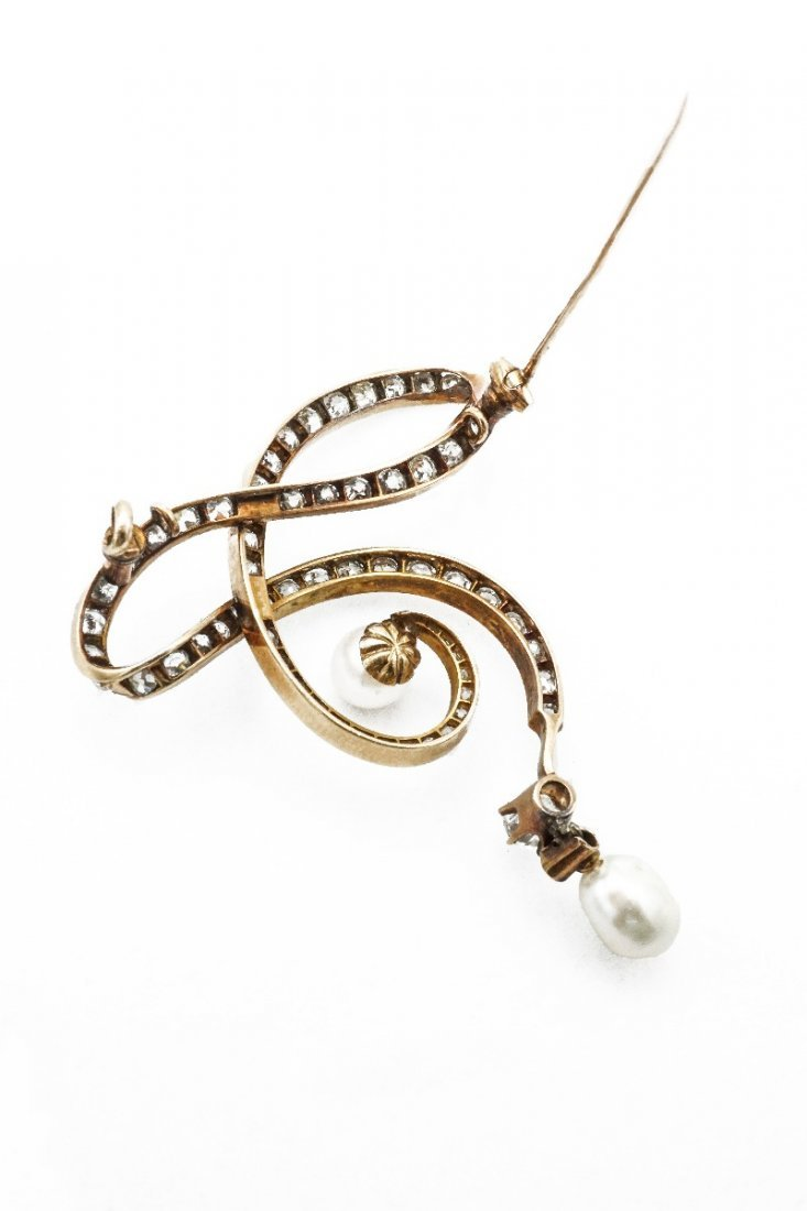 VICTORIAN NATURAL PEARL AND DIAMOND BROOCH - 2