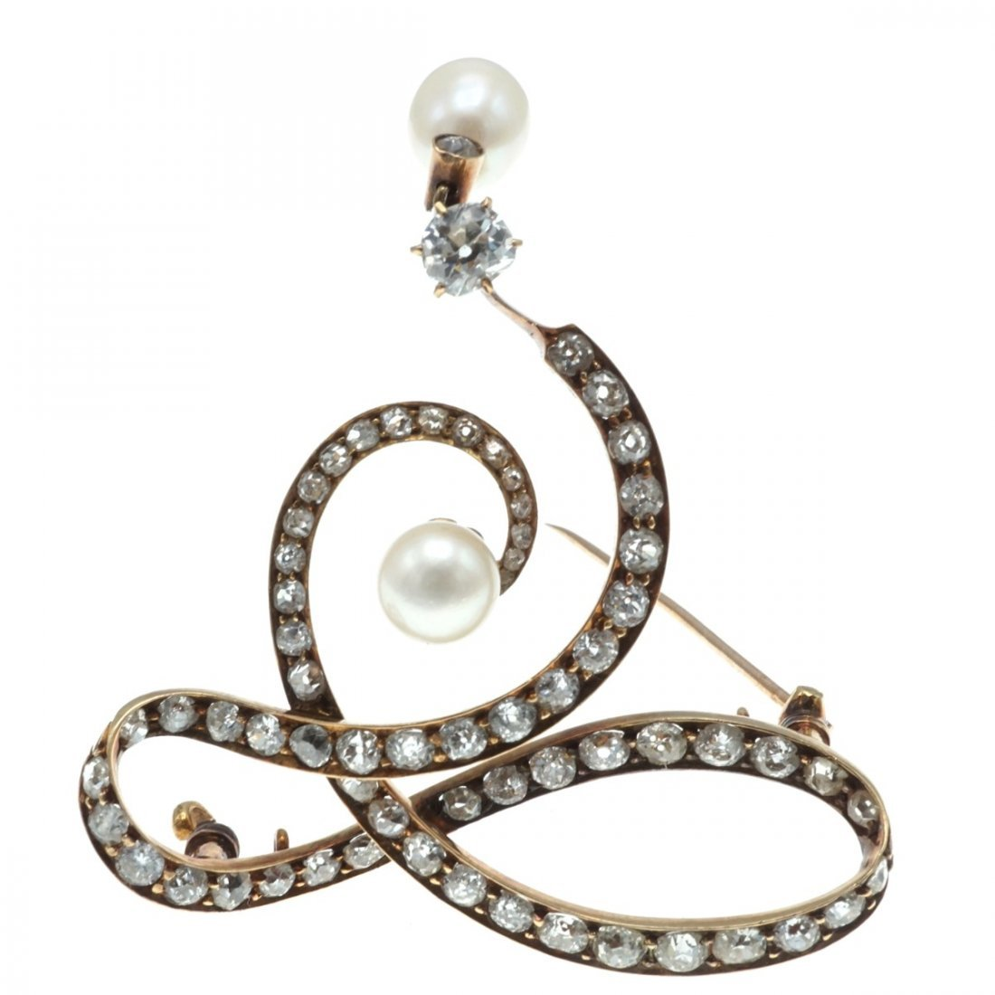 VICTORIAN NATURAL PEARL AND DIAMOND BROOCH - 3