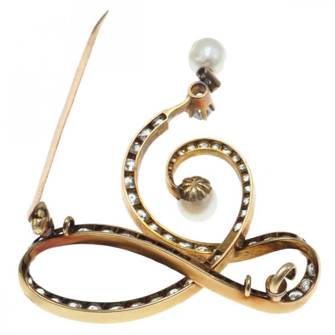 VICTORIAN NATURAL PEARL AND DIAMOND BROOCH - 7