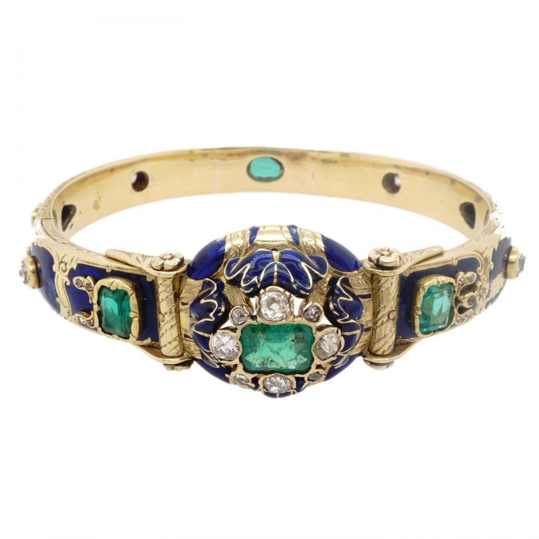 VICTORIAN EMERALD DIAMOND 18 KARAT GOLD ENAMEL BANGLE