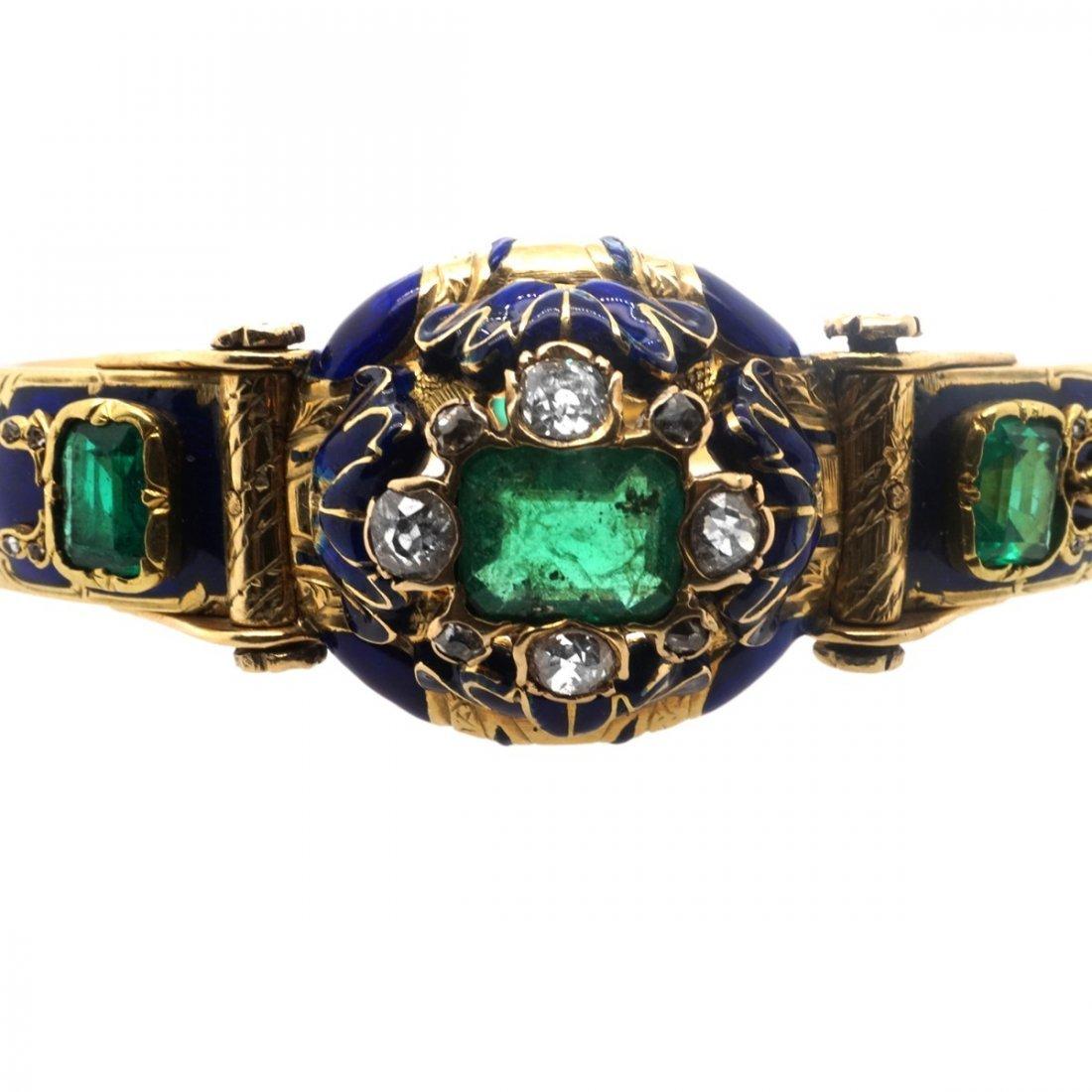 VICTORIAN EMERALD DIAMOND 18 KARAT GOLD ENAMEL BANGLE - 4