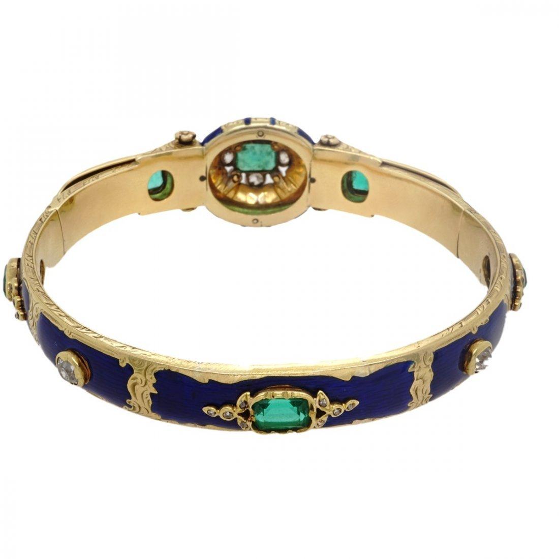 VICTORIAN EMERALD DIAMOND 18 KARAT GOLD ENAMEL BANGLE - 7