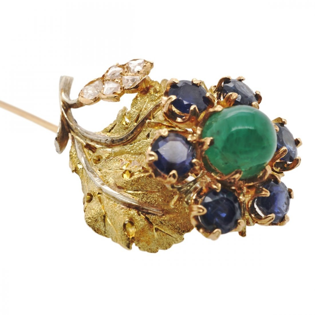 EMERALD SAPPHIRE DIAMOND 18 KARAT GOLD STICK PINS