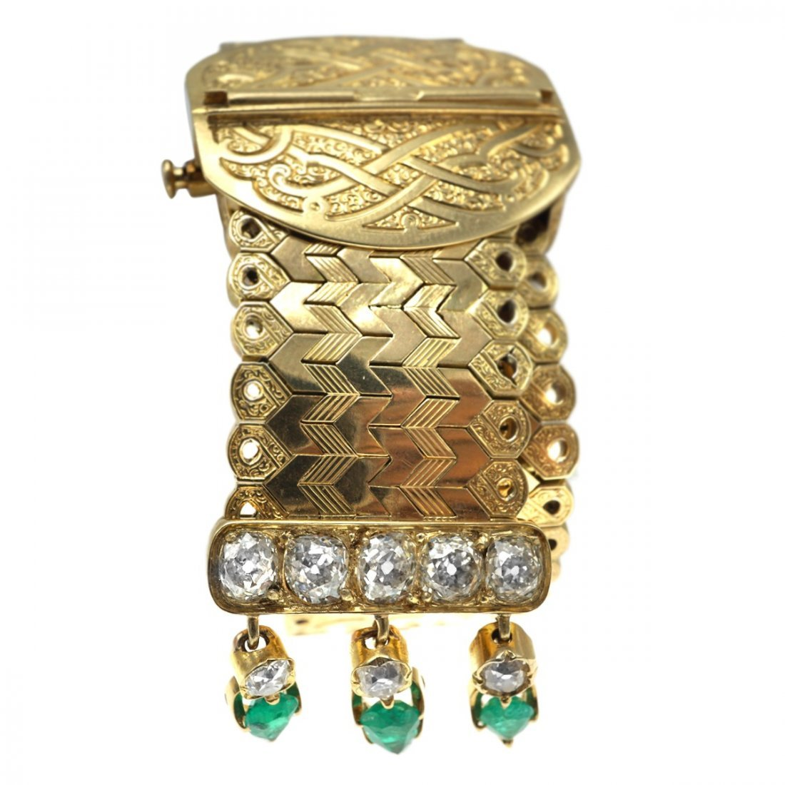 FRENCH EMERALD DIAMOND 18 KARAT GOLD BRACELET - 2