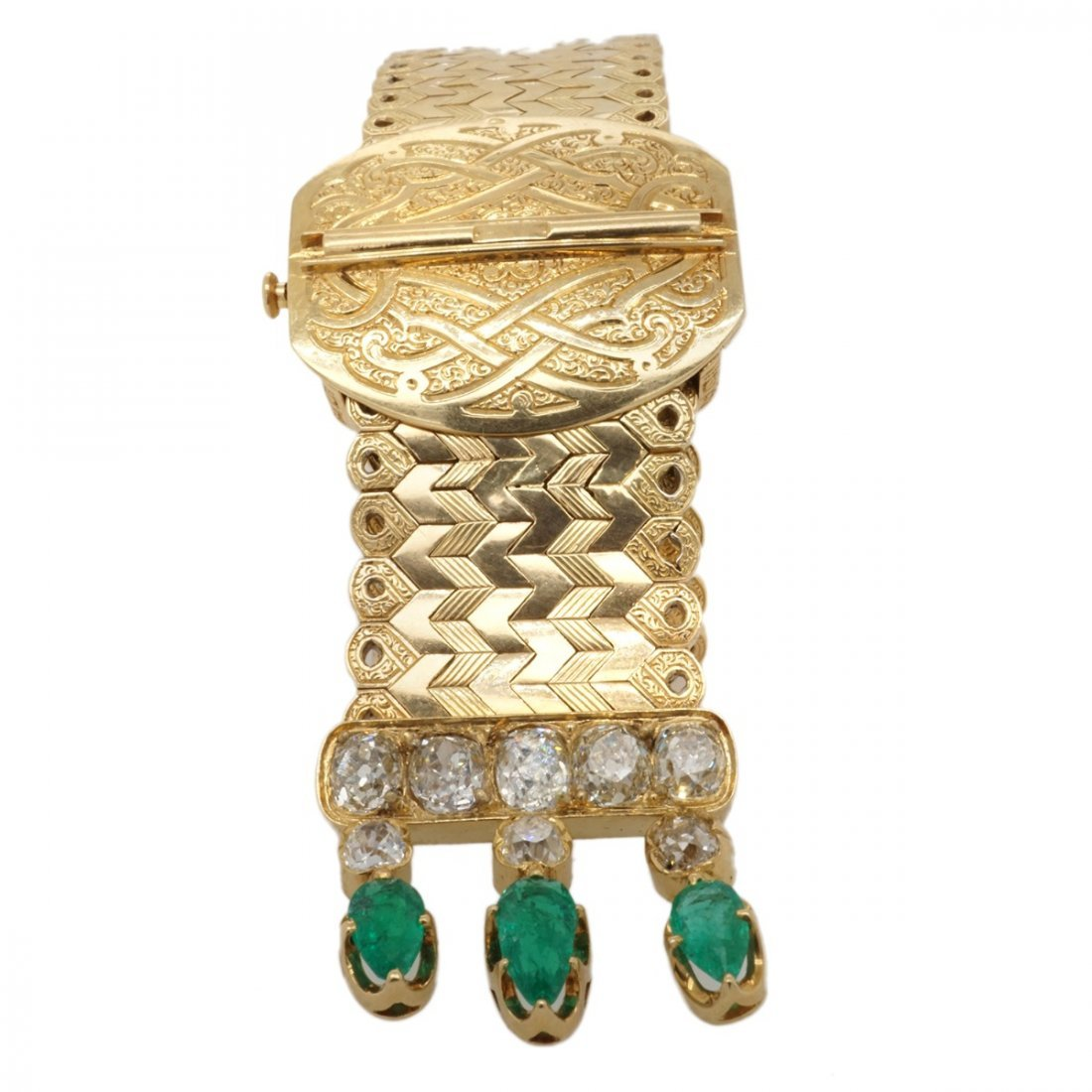 FRENCH EMERALD DIAMOND 18 KARAT GOLD BRACELET - 3
