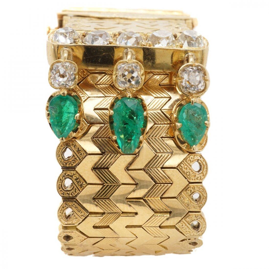FRENCH EMERALD DIAMOND 18 KARAT GOLD BRACELET - 8
