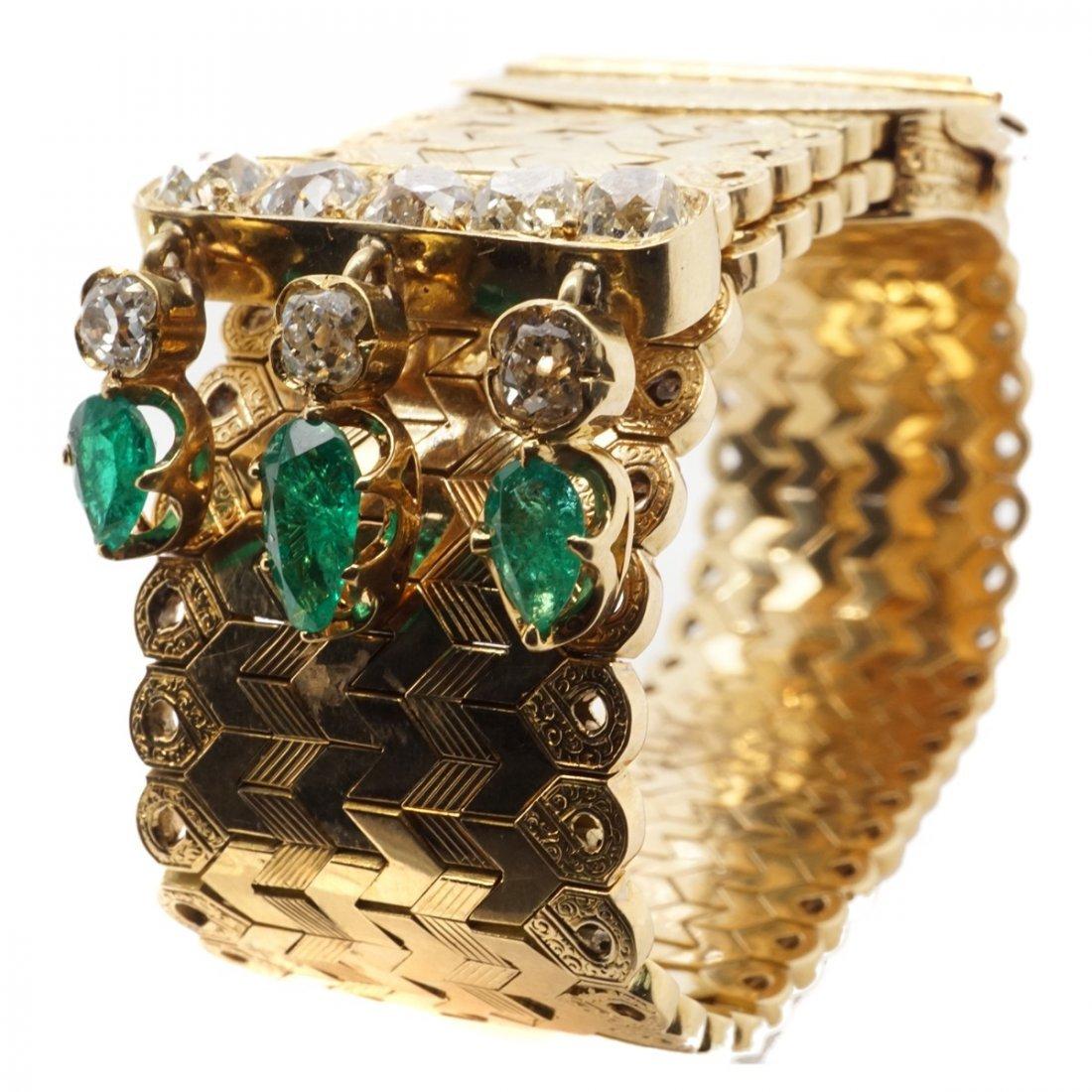 FRENCH EMERALD DIAMOND 18 KARAT GOLD BRACELET - 9