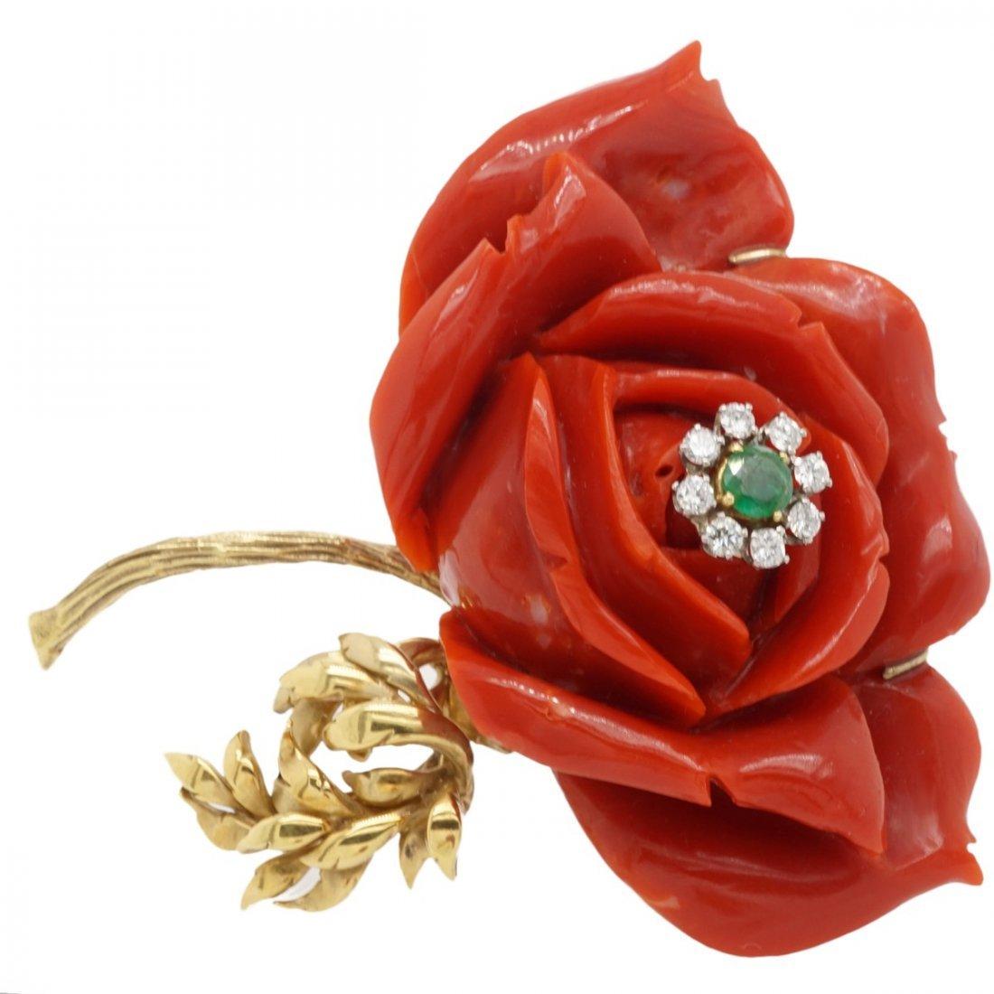 OXBLOOD CORAL EMERALD DIAMOND 18 KARAT GOLD FLOWER BROO