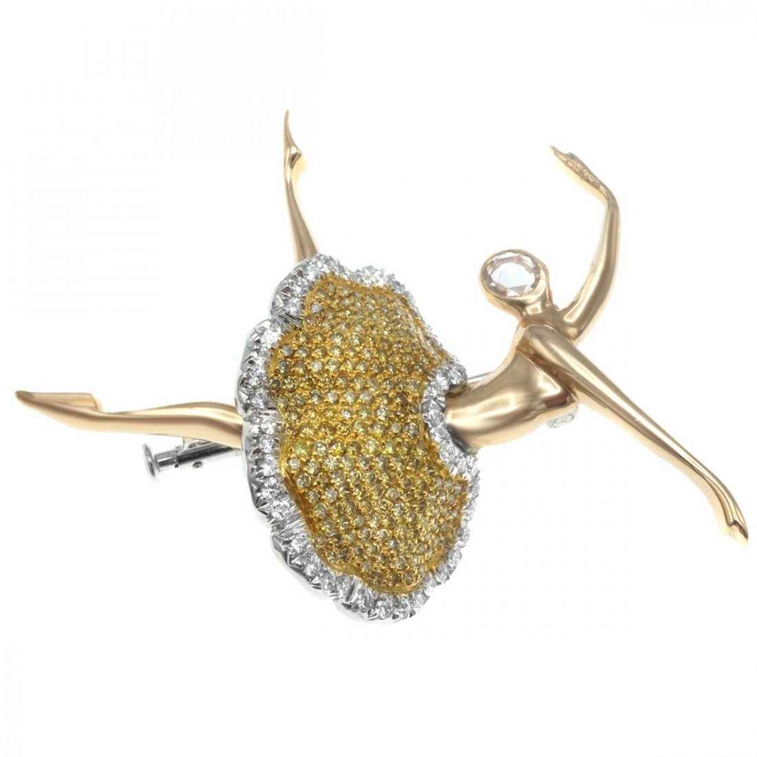 FANCY YELLOW DIAMOND AND 18 KARAT GOLD BALLERINA BROOCH