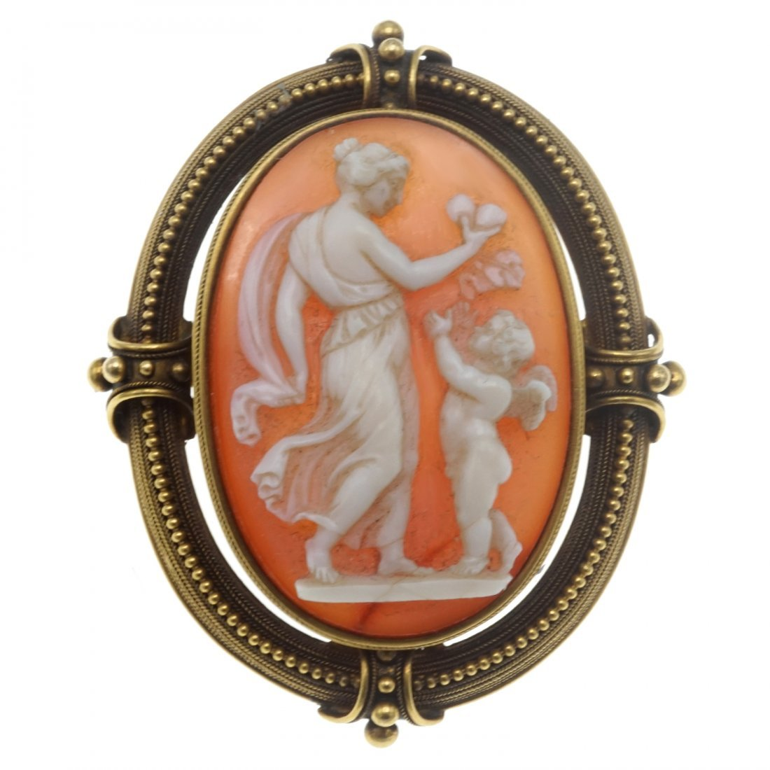 SHELL CAMEO AND GOLD BROOCH