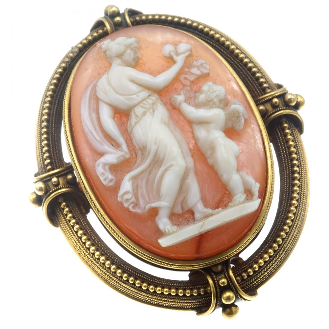 SHELL CAMEO AND GOLD BROOCH - 3
