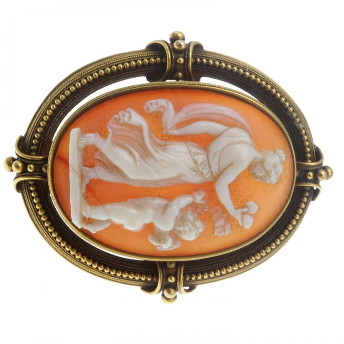 SHELL CAMEO AND GOLD BROOCH - 4