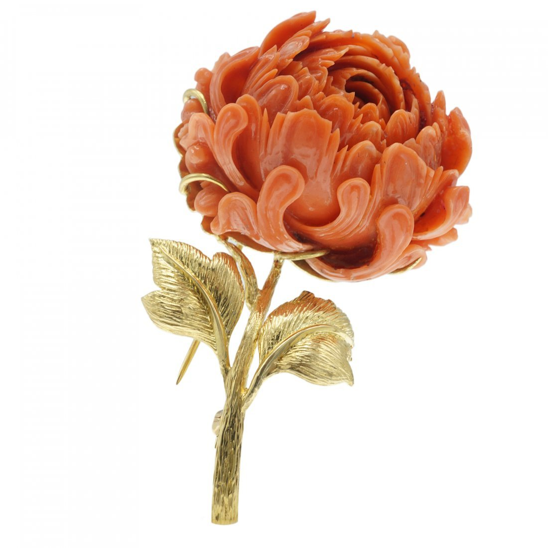 DAVID WEBB CORAL FLOWER 18 KARAT GOLD BROOCH