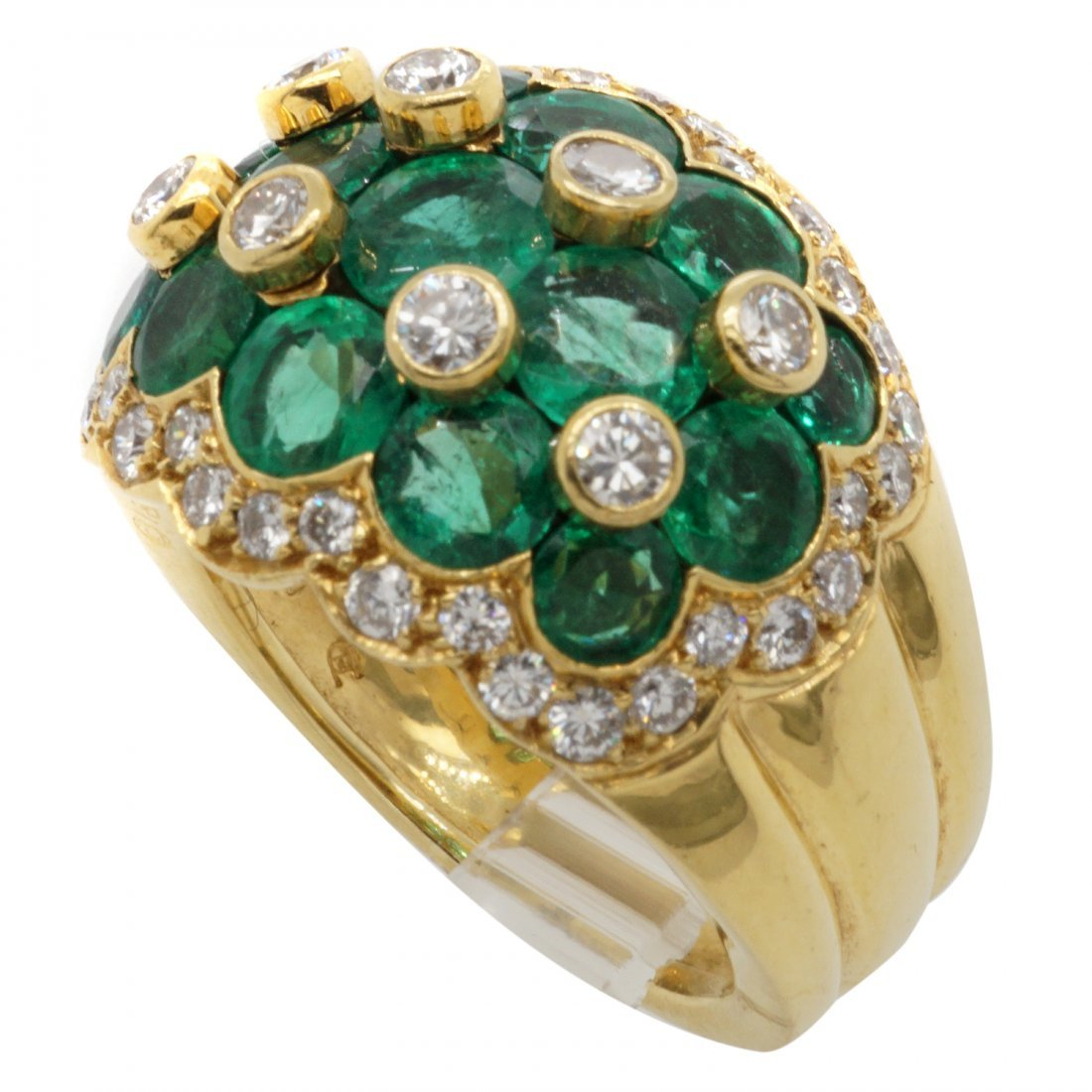 Van Cleef & Arpels Emerald Diamond 18 Karat Gold Ring