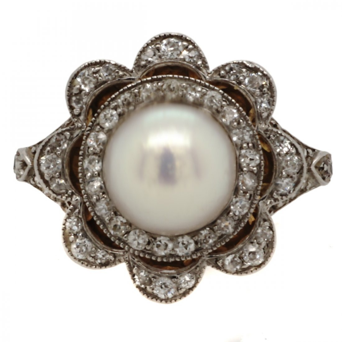 Edwardian Natural Pearl and Diamond Platinum Gold Ring