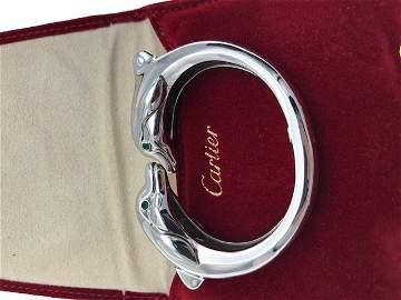 White Gold Dolphin Bangle Bracelet, Cartier.