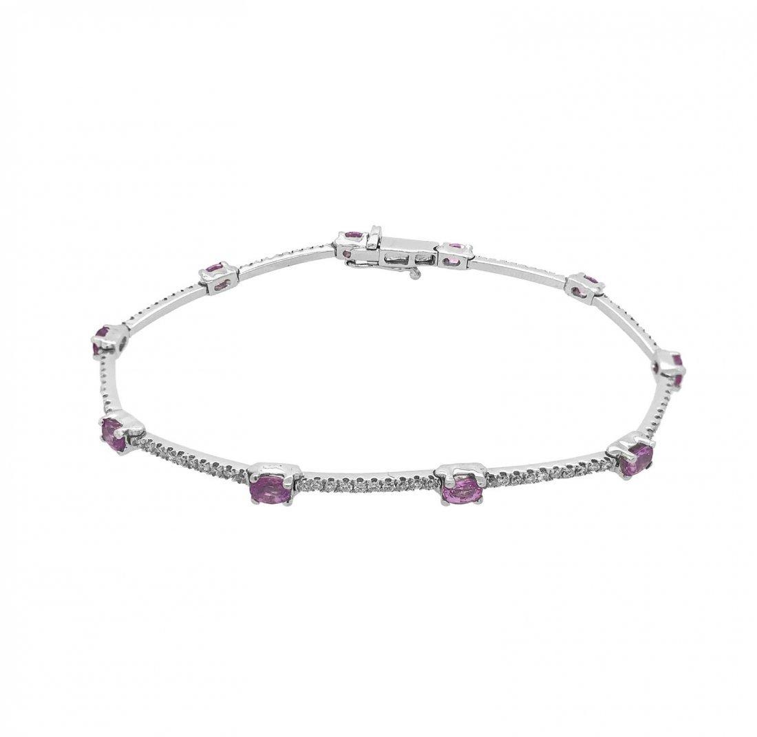 18k White Gold Pink Sapphire Diamond Bracelet