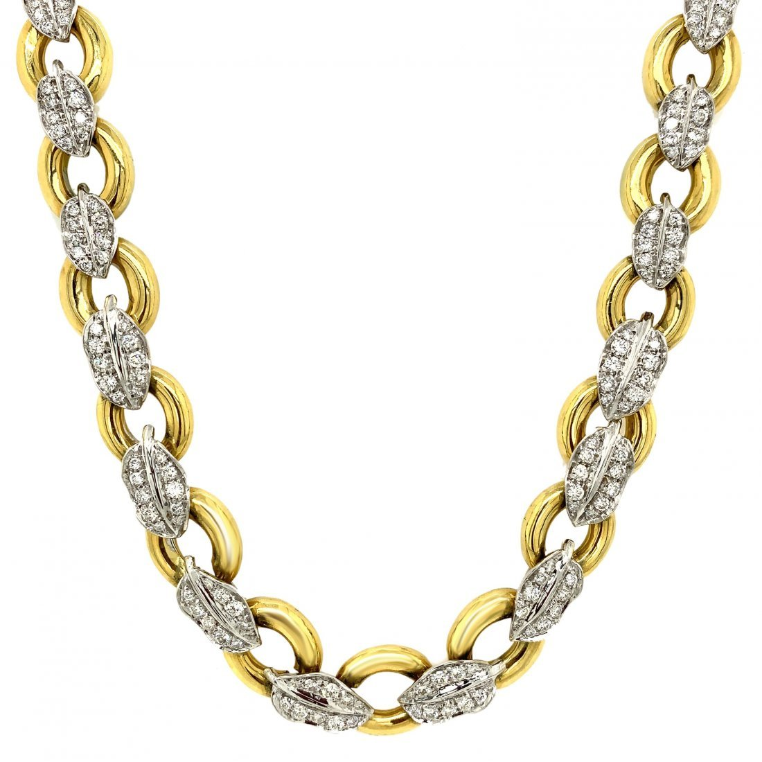 18k Yellow Gold Leaf Diamond Necklace