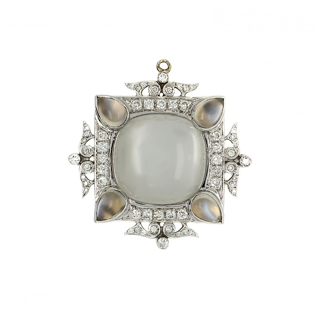 14k Gold Moonstone Diamond Pendant