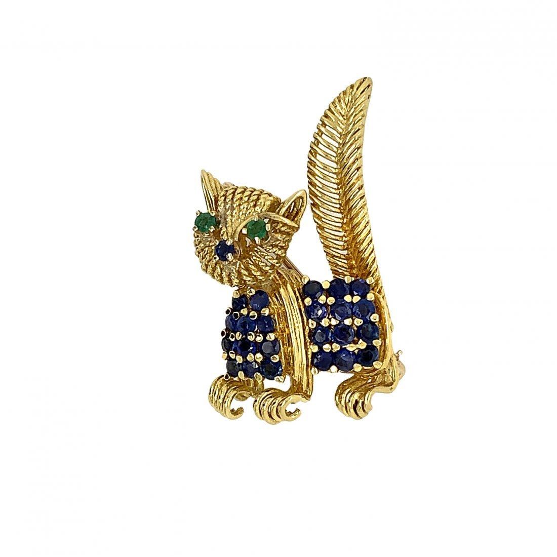 Tiffany & Co 18k Yellow Gold Cat Brooch