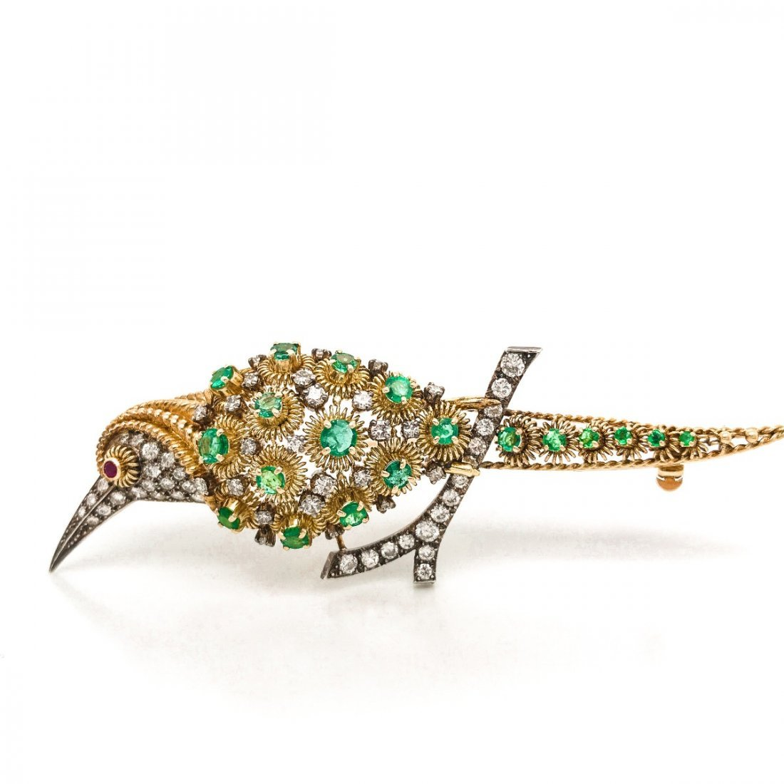 18K Gold  Diamond and Emerald infused Bird Brooch