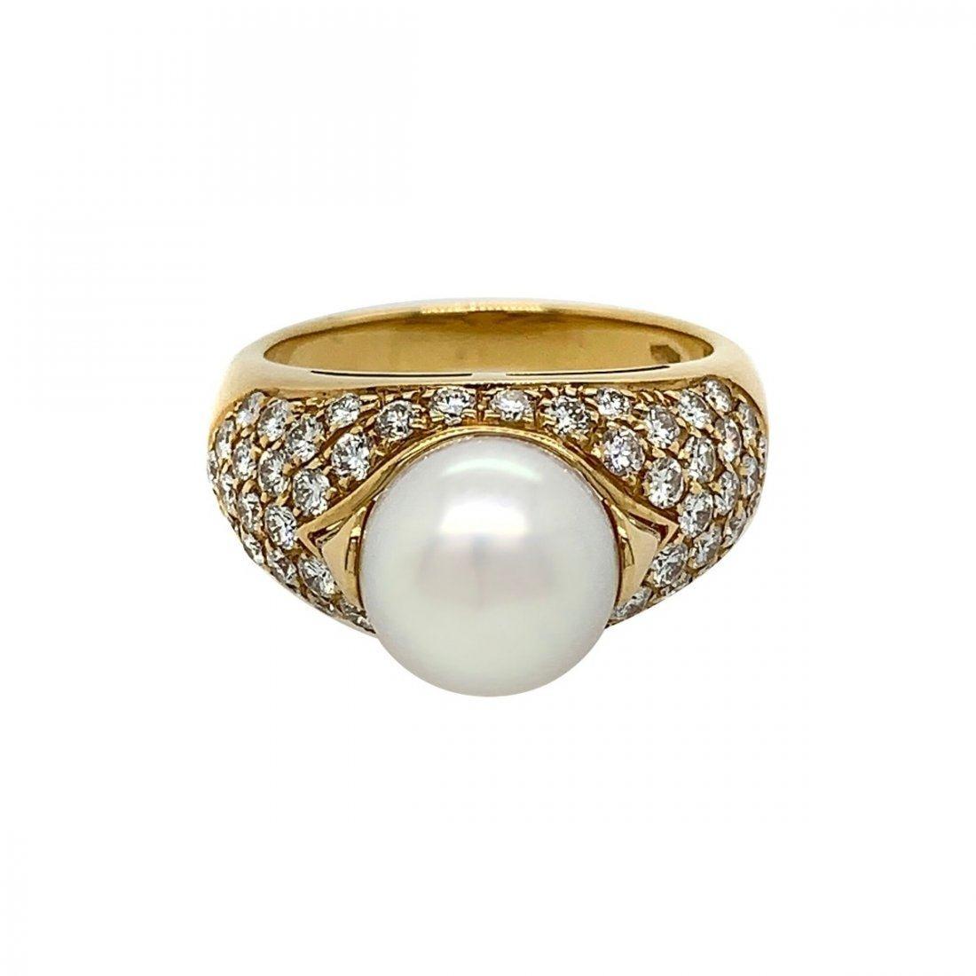 Bvlgari 18k Yellow Gold Cultured Pearl Diamond Ring