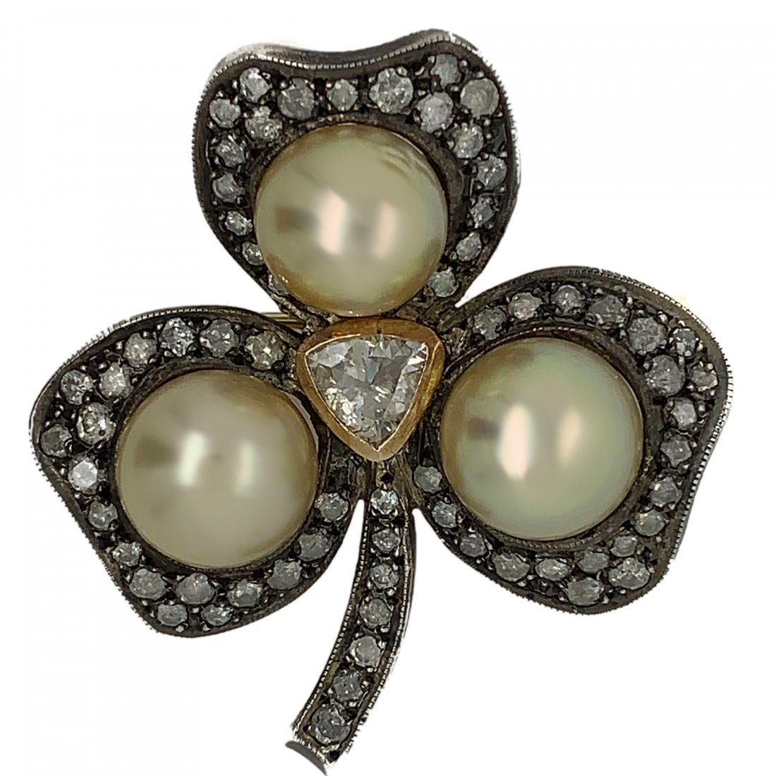 Silver & Gold Rose Cut Diamond With Cultured Pearl Broo