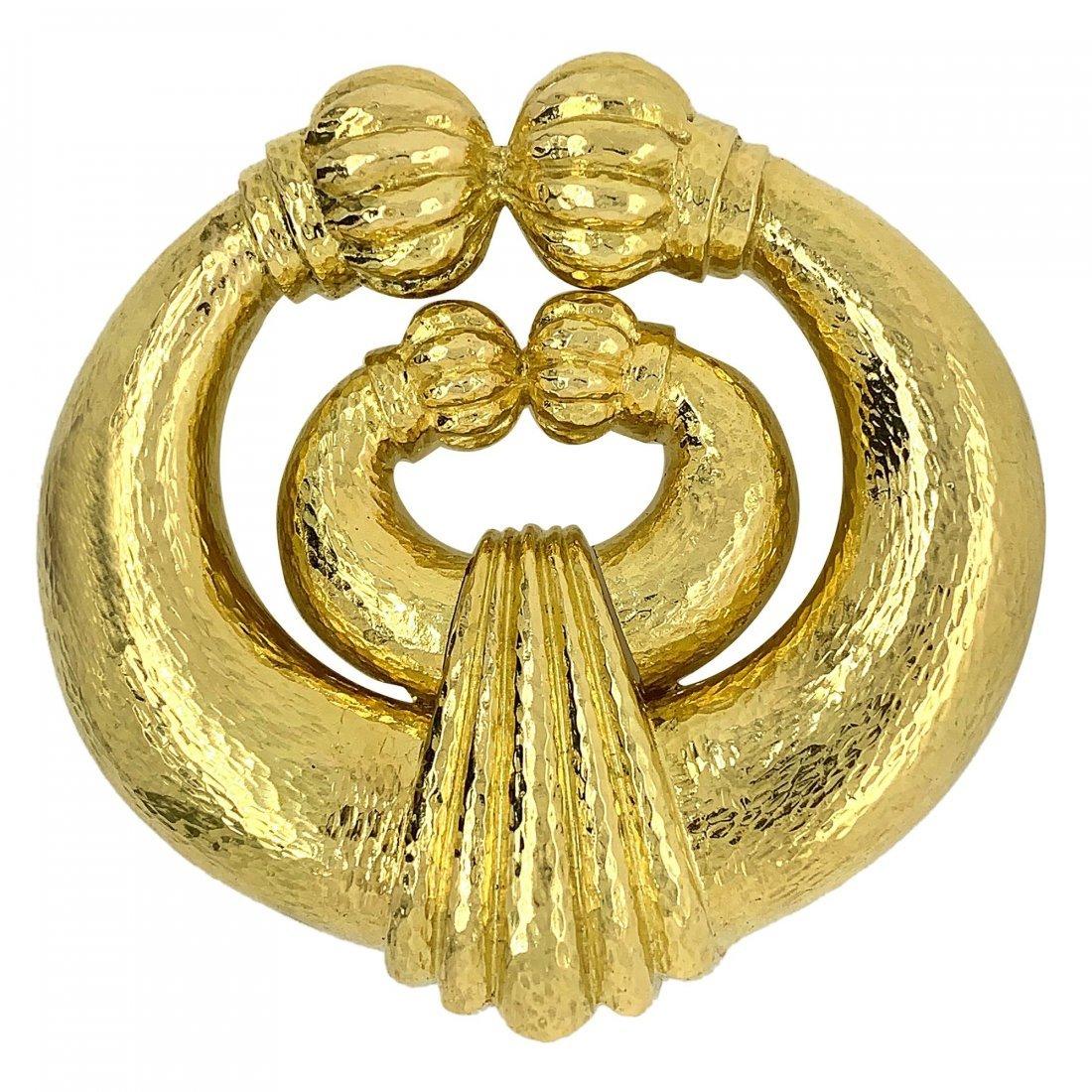 David Webb 18k Yellow Gold Brooch Pendant