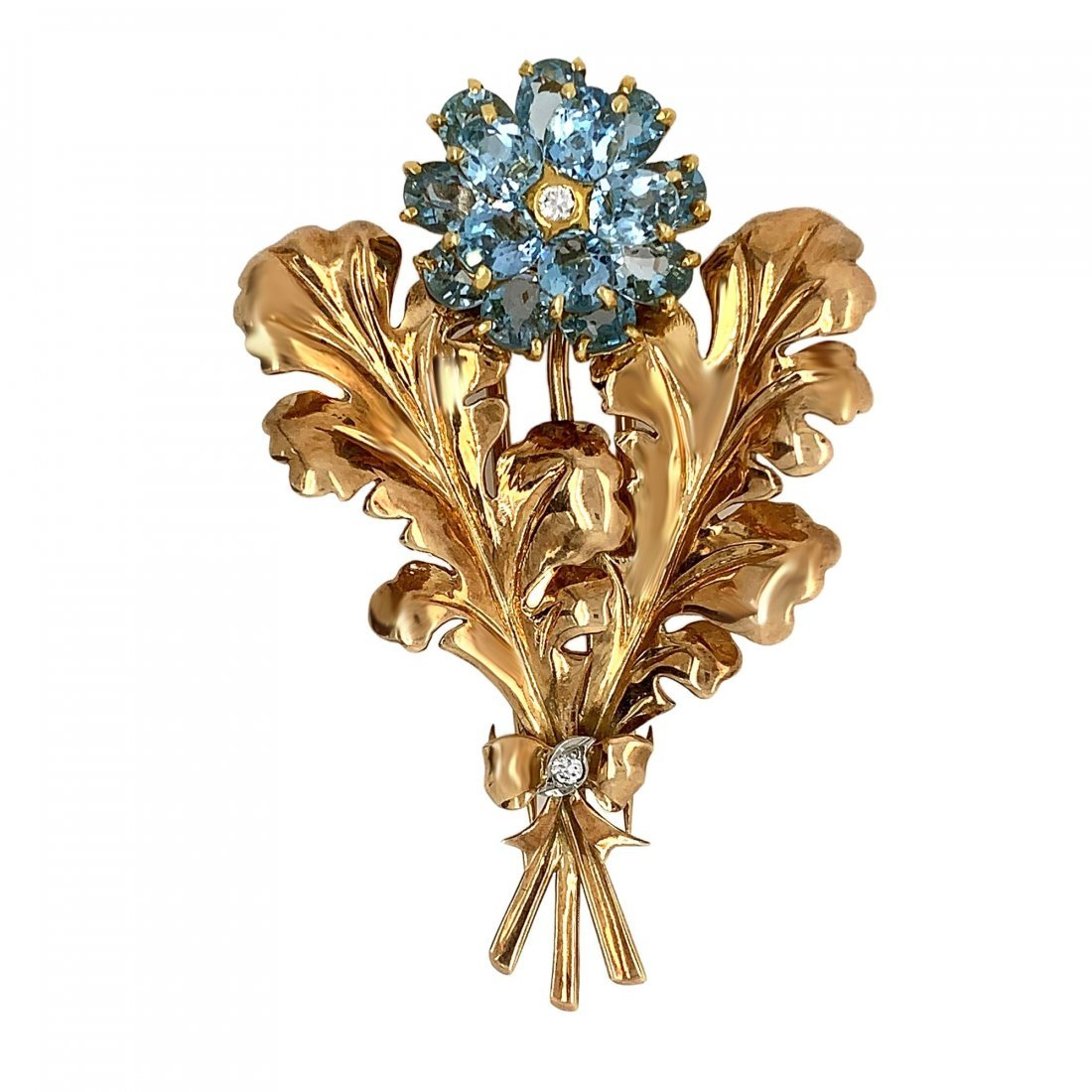 Cartier 14K Yellow Gold Aquamarine Diamond Leaf Brooch