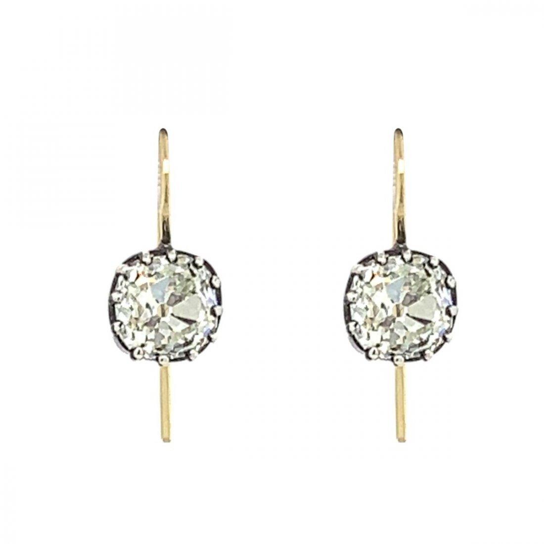 Antique Silver & Gold Old Mine Cut Diamond Earrings