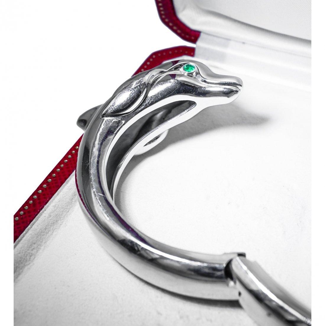 Cartier 18K White Gold Dolphin Bangle Bracelet