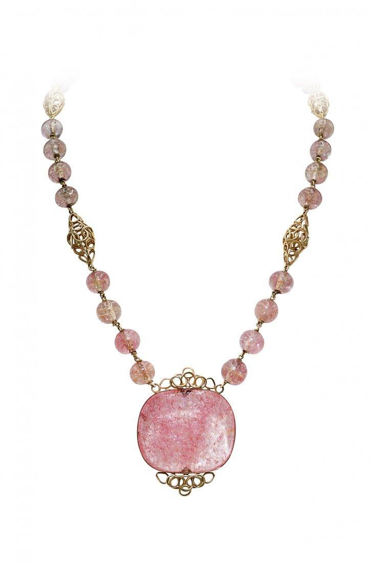 Cartier Paris 18K Yellow Gold Pink Tourmaline Necklace
