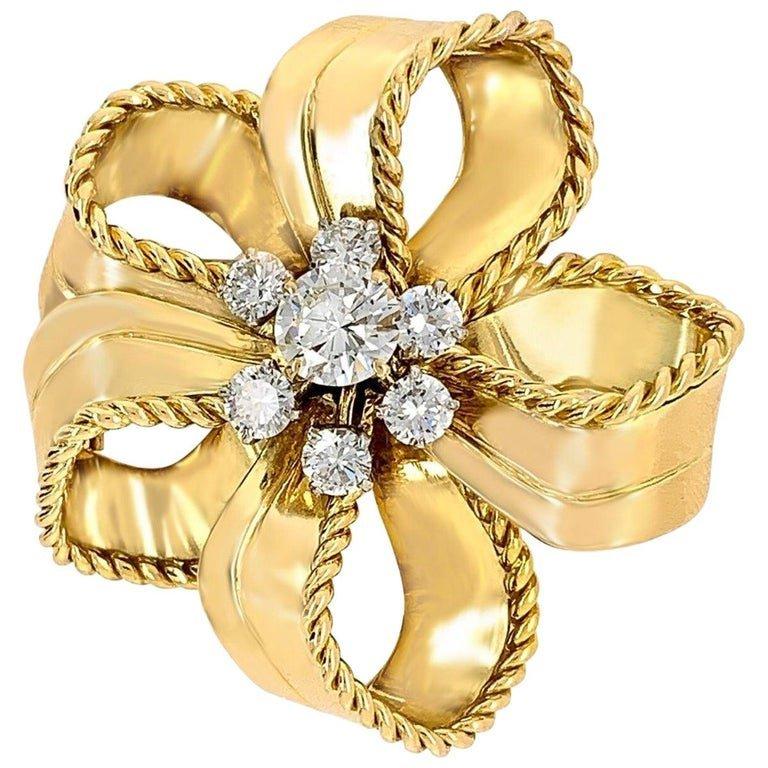 Cartier 18 Karat Yellow Gold and Diamond Flower Brooch
