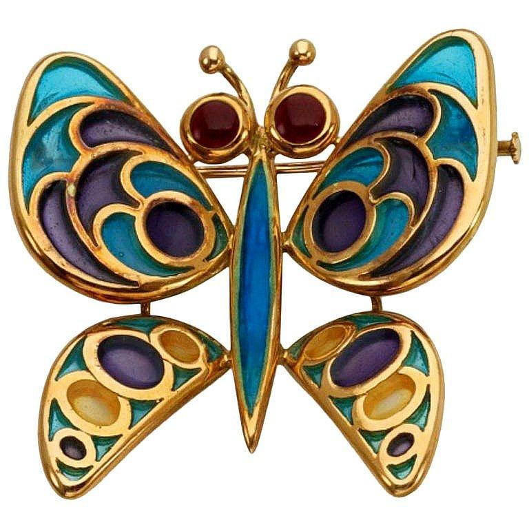 18 Karat Gold Vitrum Pastae Butterfly Brooch