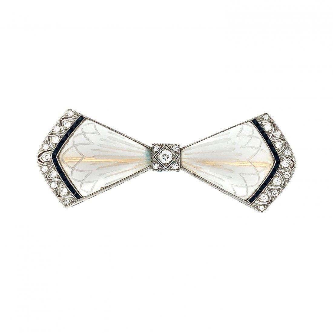 Art Deco Crystal Diamond Onyx Bow Pin Brooch