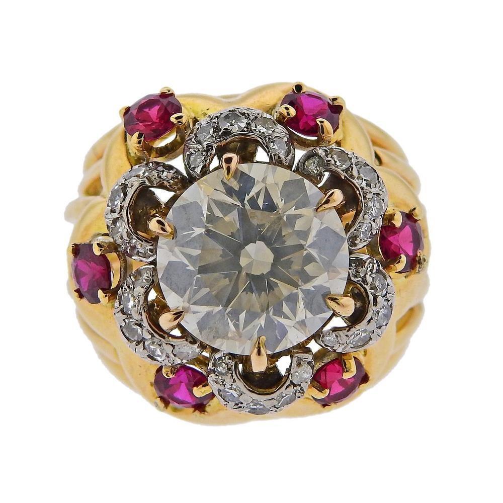 GIA 5.10ct K I1 Diamond Ruby 14k Gold Ring