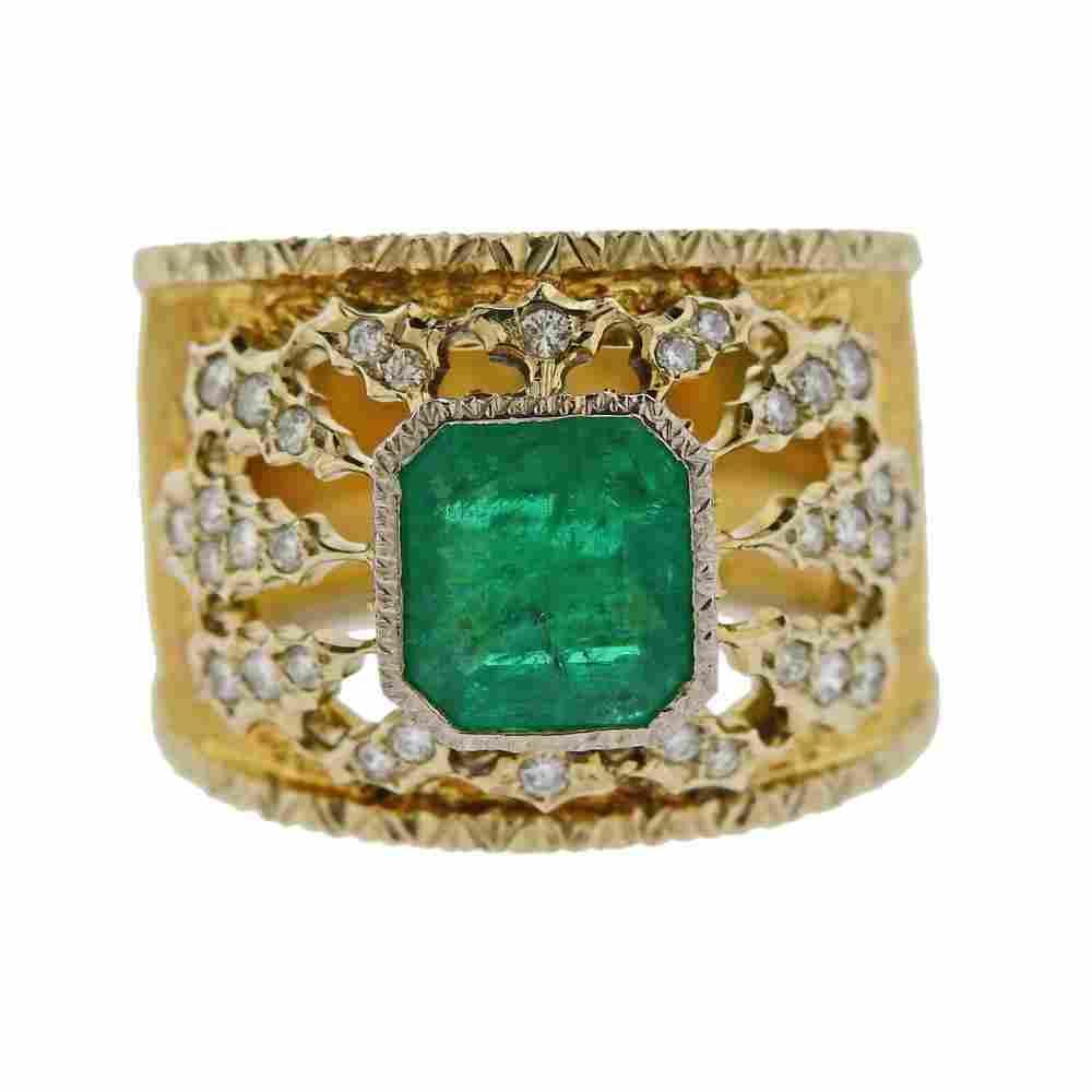 Mario Buccellati 18k Gold Diamond Emerald Band Ring