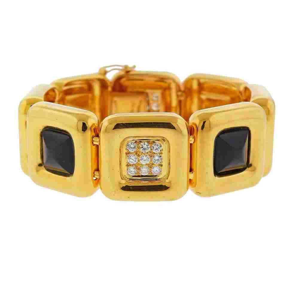 Cartier Vintage 18k Gold Diamond Onyx Bracelet
