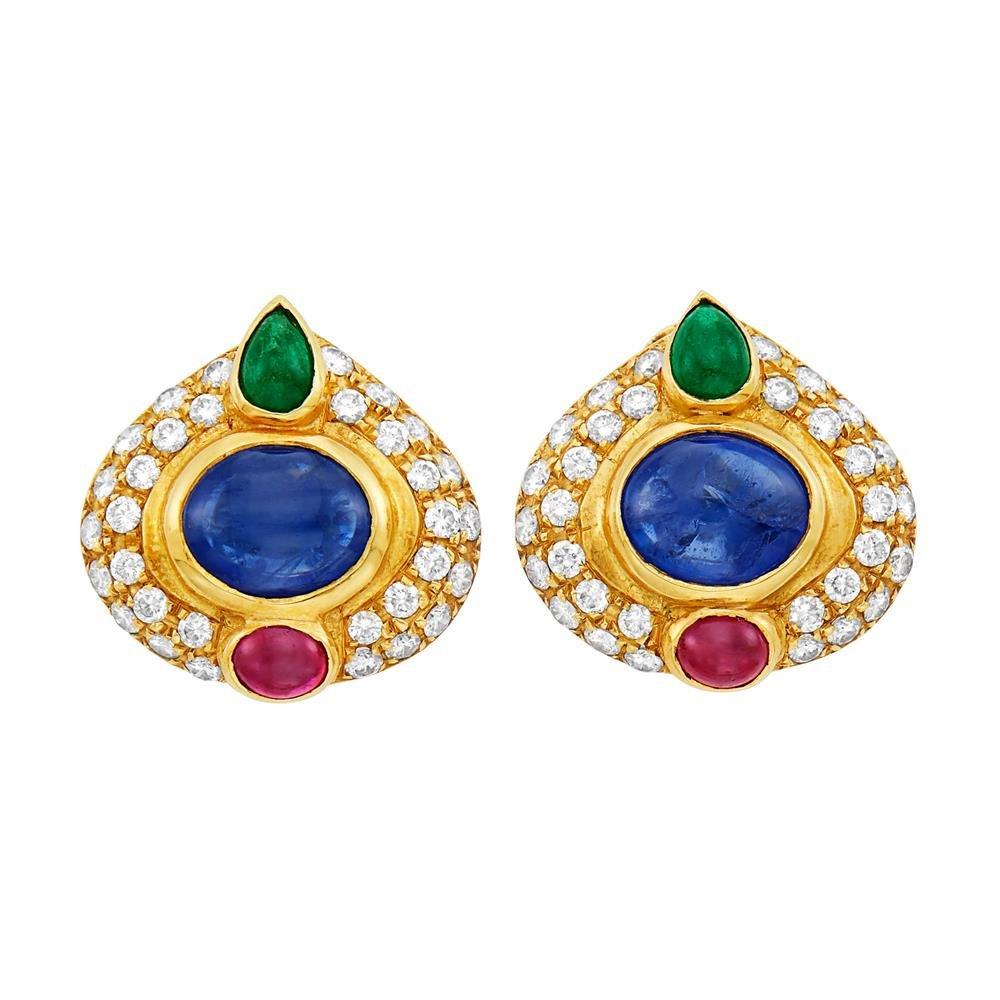 18k Gold Sapphire Ruby Emerald Diamond Earrings