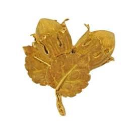 Buccellati 18k Gold Acorn Leaf Brooch Pin
