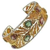 Mario Buccellati 18k Gold Gem Set Cuff Bracelet