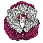 18k White Gold Fancy Ruby Diamond Brooch