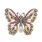 Antique Diamond Pearl Ruby Gold Silver Butterfly Brooch