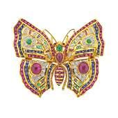 Ruby Sapphire Emerald Diamond Gold Butterfly Brooch