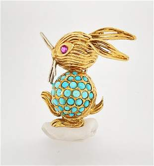 Turquoise Ruby Gold Rabbit Pin