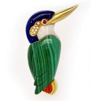 Multi-Colored Stone Smiley Bird Pin