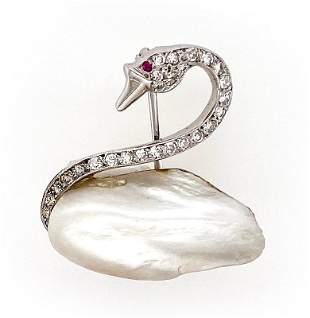Diamond Pearl Swan Pin