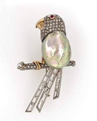 Diamond Pearl Parrot Pin