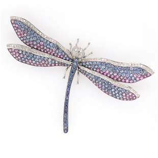 Sapphire Diamond Dragonfly Pin
